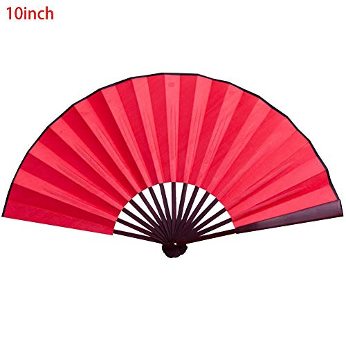 VOVI Silk Folding Fan Cloth Blank Chinese Bamboo Vintage Retro Style Handmade Antiquity Fabric Sleeve Handheld Home Gifts Folding Fan Calligraphy Painting 8/10 Inch
