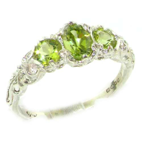 925 Sterling Silver Natural Peridot Womens Trilogy Ring Sizes 4 to 12 Available