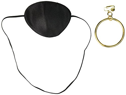 Costume Culture Men's Pirate Patch and Earring, Black, One Size (Easy Halloween Costumes Men)