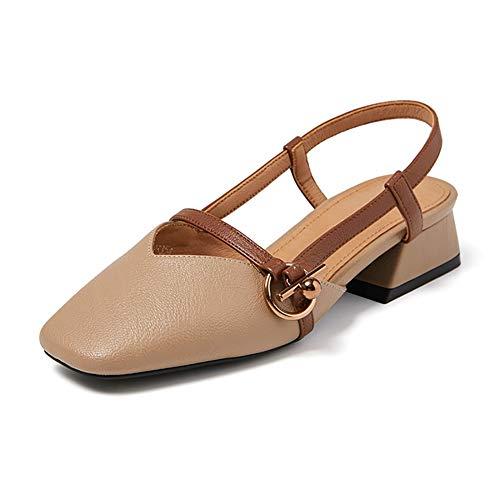 Pour Yxx Femmes Femme Couleur Carré 1 Avec Unie Retro Talon Plates Tongs De Chaussures Gros zrvqwzg
