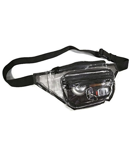 Clear Fanny Pack With Zipper Pockets and Waist Strap, Transparent Vinyl Pouch, Great as Stadium Security Bag, Perfect for Men or Women ()