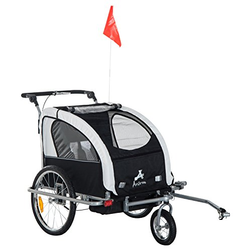 Aosom Elite 2-in-1 Double Child Two-Wheel Bicycle Cargo Trailer and Jogger with 2 Safety Harnesses - Black/White
