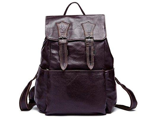 SHOUTIBAO Zaino in pelle da uomo/patta ribaltabile/borsa da studente, vai a scuola/in viaggio, 1 3