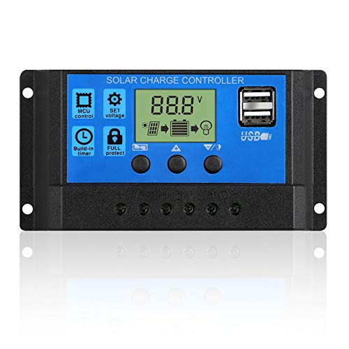 - EEEKit 20A Solar Charger Controller Solar Panel Battery Intelligent Regulator with USB Port Display 12V/24V