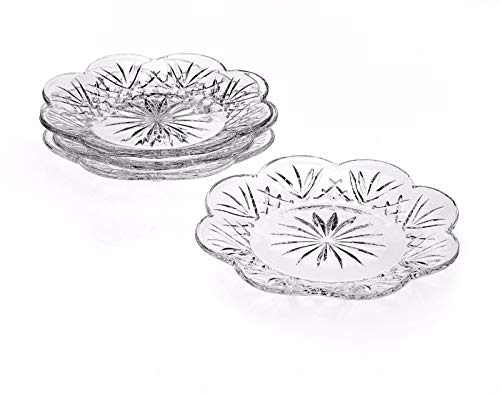 - Crystal Desert Plates, 5 Inch Canape Plates for Appetizer, Desert, Fruit, Salad and Cake, Set of 4 Clear Glass Plates