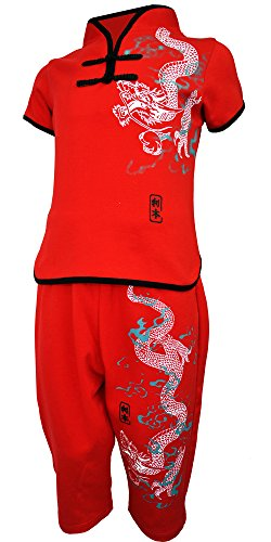 Chinese Traditional Costume For Girls (Amazing Grace Kids' Chinese Costume Outfit Top w Pants Set ,Cotton Suit w. Traditional Mandarin Collar (Small, Red Dragon))