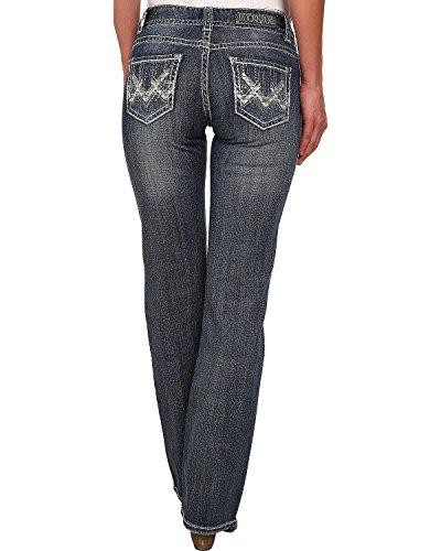 Rock & Roll Cowgirl Women's and Mid Rise Dark Wash Boot Cut Jean Indigo 30 (Mid Roll)