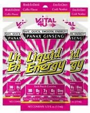 Vital 4 U Liquid Energy Ginseng Drinks Coffee Flavor 12 Packs