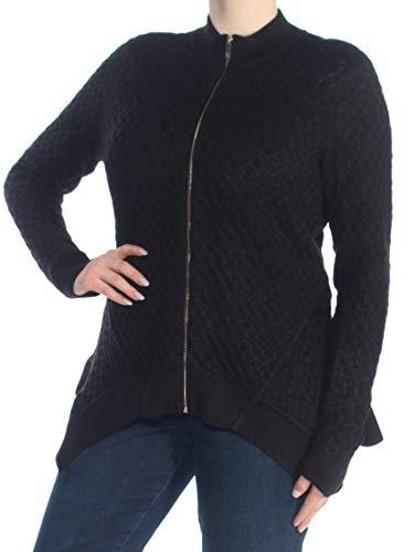 Tommy Hilfiger $119 Womens New 1541 Black Handkerchief Zippered Cardigan XL B+B