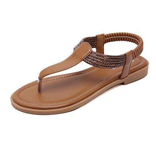 (WESIDOM Flat Sandals for Women,T-Strap Flip Flops Thong Elastic Strap Summer Shoes Brown)