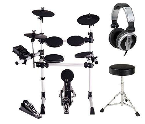 XDrum DD-430 E-Drum-Set Komplett Set inkl. Hocker und Kopfhörer (4 Drum Pads, 3 Cymbals, HiHat Pedal, Kick Pad mit Pedal, Crash- und Ride-Becken abstoppbar, LED, USB, MIDI, AUX, Kopfhöreranschluss, inkl. Sitz)