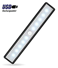 JEBSENS - T05B Battery Operated Closet light, 10 LED Under cabinet lighting with Motion Sensor, Rechargeable Motion Sensing LED Light Bar, Stick on anywhere, 3 Modes On Off Auto Switch - Black
