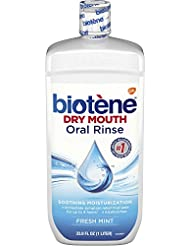 Biotene Fresh Mint Moisturizing Oral Rinse Mouthwash, Alcohol-Free, for Dry Mouth, 33.8 ounce