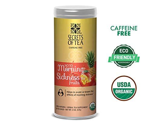 - Secrets of Tea - No To Morning Sickness - Pregnancy Tea-Certified USDA Organic No Caffeine- Morning Sickness Relief,Nausea, Constipation (Fruits)
