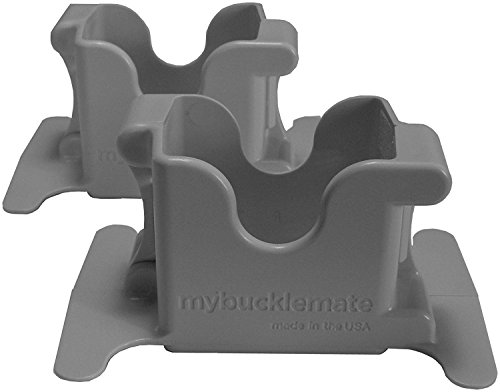 MyBuckleMate Seat Belt Buckle Holders - Keep Floppy Back Seat Buckles Securely Propped Up for Easy Buckling, Gray - (Set of 2)