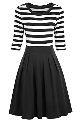 BI.TENCON Women's Vintage Style Black and White Striped Midi Dresses 3/4 Sleeve Business Casual Dress L (White And Black Striped Long Sleeve Dress)