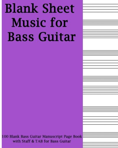 (Blank Sheet Music For Bass Guitar: Purple Cover, 100 Blank Manuscript Music Pages with Staff and TAB lines, For Musicians Gifts and Bass Players)