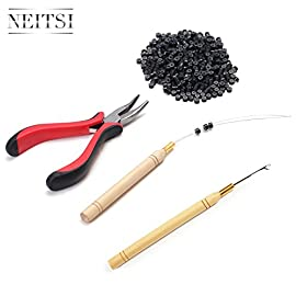 Neitsi Hair Extension Remove Pliers + Pulling Hook + Bead Device Tool Kits + 500pcs 5mm Micro Rings (Black# Beads)