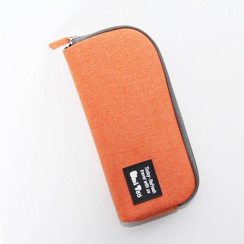 Multifunction Student's School Pen Bag Pencil Case Cosmetic Bags Travel Makeup Bags Pen Pocket Concise Style (Orange)