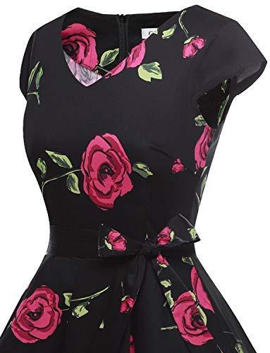 Corte Vestito Audery Rose Maniche Gardenwed Annata Retrò Black Con Da Abito Cocktail Rockabilly Partito Polka Swing 1950 q0F0wH6g
