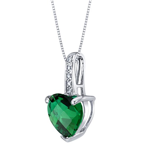 14K White Gold Created Emerald and Diamond Heart Pendant 1.50 Carats - Baby Diamond Heart Pendant