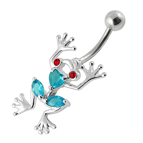 Ring Frog Belly Button Dangling - Light Blue Gemstone Fancy Heart Frog Dangling 925 Sterling Silver with Stainless Steel Belly Button Navel Rings