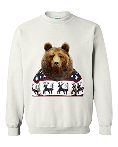 Xekia Christmas Sweater Holiday Bear Fashion People Best Friend Couples Gifts Unisex Crewneck Sweatshirt X-Large White
