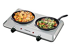 Ovente Countertop Infrared Burner – 1500 Watts – Ceramic Double Plate Cooktop With Temperature Control, Non-slip Feet – Indooroutdoor Portable Electric Stove – Brushed Stainless Steel (Bgi202s)