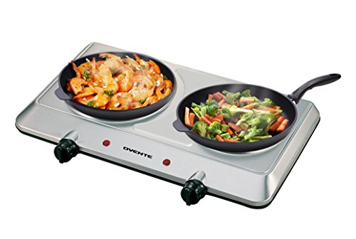 Ovente Countertop Infrared Burner – 1500 Watts – Ceramic Double Plate Cooktop with Temperature Control, Non-Slip Feet – Indoor/Outdoor Portable Electric Stove – Brushed Stainless Steel (BGI202...