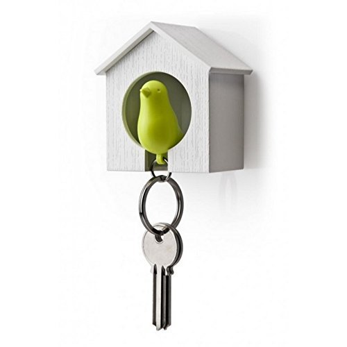 Sparrow Key Ring by Qualy Design Studio. Cool Wall Decoration - Nice and Practical Wall Mounted Keyholder and Keyring. Unusual Gift. White Birdhouse and Green Bird (Dolphins Brass Mirror)
