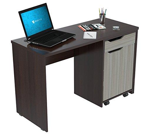 Inval America Desk with Swing Out Storage, Espresso Wengue/Smoke Oak