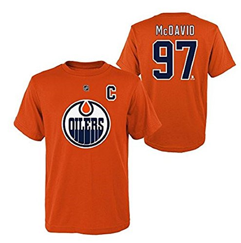 Outerstuff Connor McDavid #97 NHL Edmonton Oilers Orange Name and Number Youth Shirt (Small)