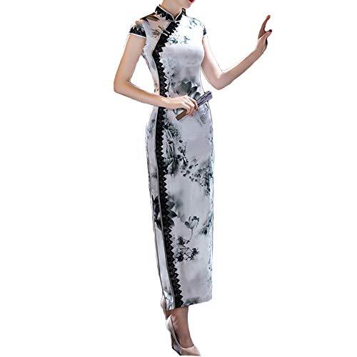 精査原子代数的チャイナドレス ロング ワンピース チャイナ服 セクシー 半袖 シルク 花柄 スリット ドレス 大きいサイズ