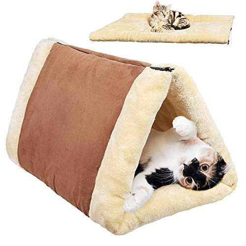 XAVENGAR 2-in-1 Cat Bed Pet Cave Bed Kitty Snooze Tunnel Pet Supplies Self Warming Cat Thermal Bed Pet Palace Pet Mat Cushion for Cats Dogs Kitty and Kittens for Travel -