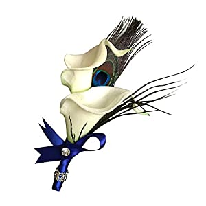Boutonniere-feels Just Like Real Artificial Calla Lily with Peacock Feathers 84