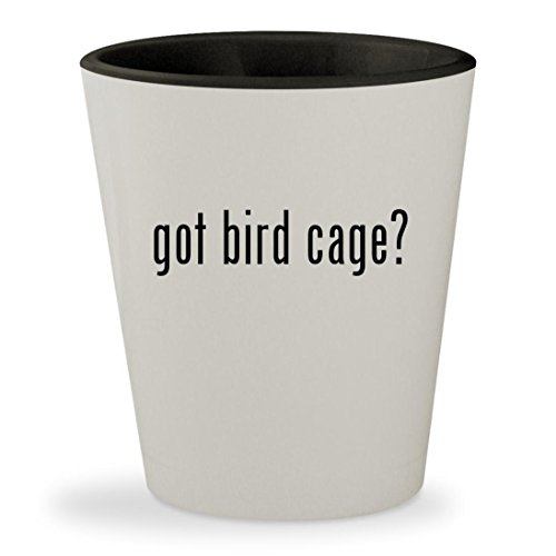 got bird cage? - White Outer & Black Inner Ceramic 1.5oz Shot Glass (Perch Prevue Cover)