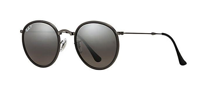 553ea2b7c6 RB 3447 Sunglasses (Folding Gunmetal Frame Polarized Silver Mirror Lens