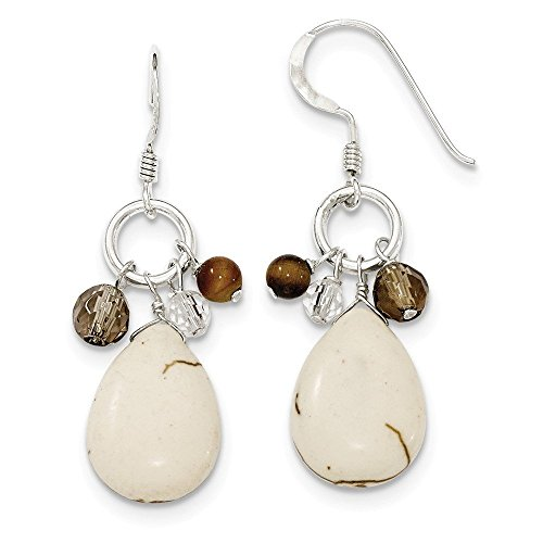 - Sterling Silver Crazy Lace Agate/Clear & Smokey Qtz/Tiger Eye Earrings (1.77 in x 0.55 in)