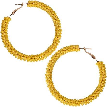Humble Chic Beaded Hoop Earrings for Women –...