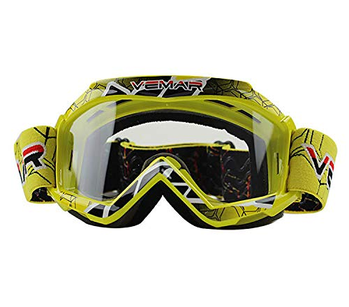 June Sports Motorbike Goggle Glasses Kids Teens Youth Motorcycle Goggles Cycling Clear Vision UV Protection Dust Wind Proof Motocross Dirtbike Racing Dirt Bike Goggle Children Yellow KG4