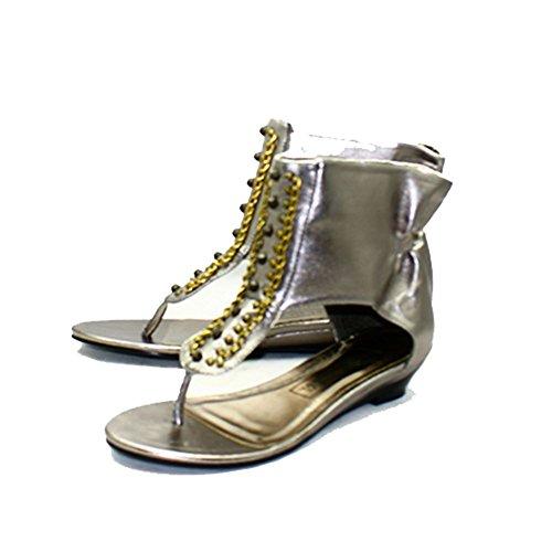 Zinn Perlen Sandalen mit Knöchelmanschette Pewter