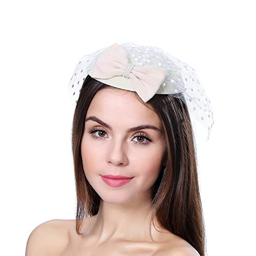 homy Fascinator Hats Feather Fascinators for Women Pillbox Hat Headband for Wedding Derby Tea Party Race