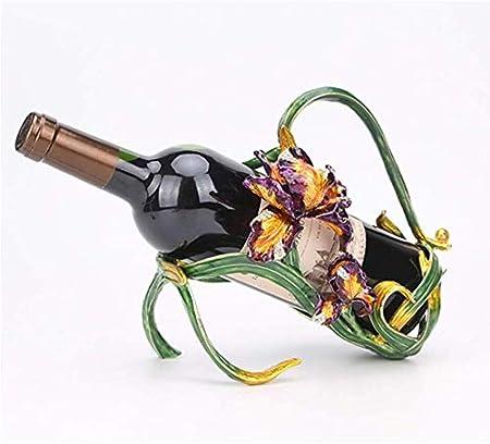 Estantería de vino Titular simple botella de vino, Marco Inglés Iris flor del vino de la vendimia arte del hierro conveniente for los regalos Inicio gabinete del vino Decoración de negocio estante de