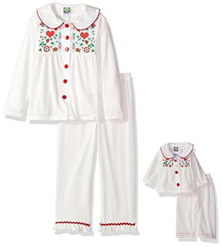 Dollie & Me Big Girls' Vintage Flannel Button Front Sleep Set, Ivory, 7 (Button Front Flannel)