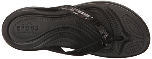 Negro Flip Sandalias black Sequin V W Mujer flop Para Capri Crocs qzfwIXv