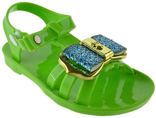 - SOHO Ashley Baby Girls Gladiator Jelly Rhinestone Bow Flat Sandals Green 5 Toddler