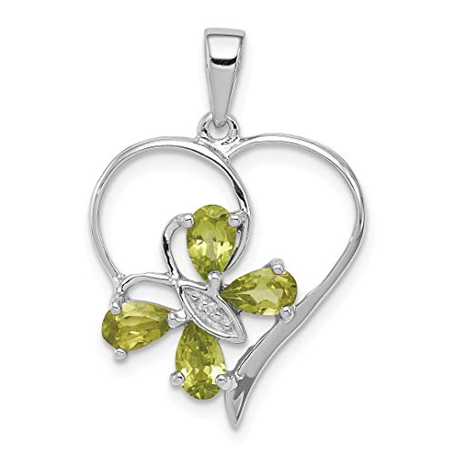 925 Sterling Silver Green Peridot Diamond Butterfly Heart Pendant Charm Necklace Gemstone Love Fine Jewelry For Women Gift Set ()