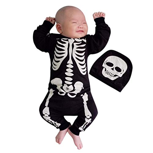 Clearance Newborn Outfits Clothes - vermers Baby Boys Girls Halloween Bone Print Romper Jumpsuit + Cap 2Pcs Set(18M, Black)