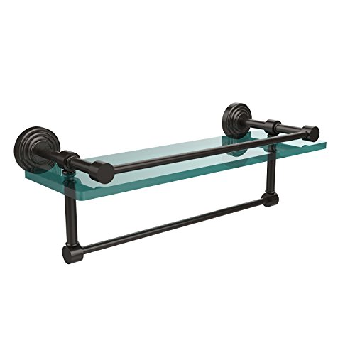 16-GAL-ORB Waverly Place Collection 16-Inch Gallery Glass Shelf with Towel Bar, Oil Rubbed Bronze ()