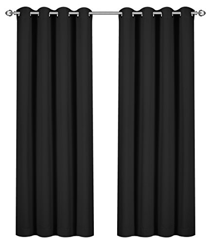 (Utopia Bedding 52 Inch Wide X 84 inch Long Blackout Window Panel Curtains, Black, Set of 2)